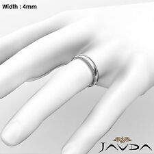 4mm Dome Milgrain Solid Ring Platinum Plain Men's Classic Wedding Band 8g 8-8.75