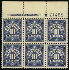 PS6, Mint 10¢ VF LH Top Plate Block of Six Stamps Cat $85.00 - Stuart Katz