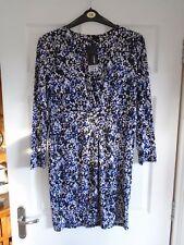 Black/Blue/White abstract splodge semi fitted stretchy summer shirt dress 14/16