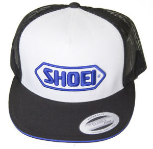 Shoei Helmets Trucker Motorcycle Motorbike Cap - White (Blue Logo)