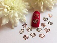 50 x Nail Art ARGENTO ORO ROSA S. VALENTINO LOVE CUORI PAILLETTES 2vh in Metallo Sottile