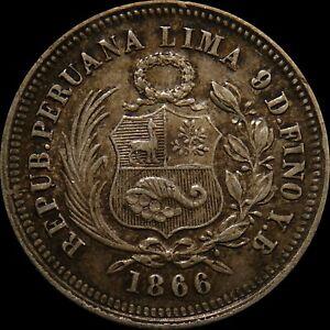 1866 Peru 5 De Sol 20 Cents high grade Toned silver foreign coin South America