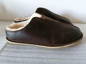 CLARKS KITE STITCH MENS BROWN LEATHER SHEEP WOOL LINED WARM SLIPPERS UK SIZE 11