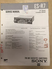 Sony Service Manual for the ES-R7 Cassette Car Stereo ~ Repair mp
