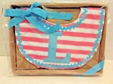 "NEW Mud Pie BIB Baby Girl Initial ""L"" Monogram Gift Boxed Valentines Baby Shower"