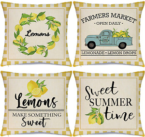 Hlonon Summer Lemon Pillow Covers 18x18 Inch Set of 4 Summer Decorations Buffalo