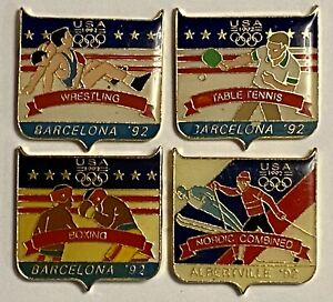 4 Vintage USA Olympic Pins 1992 Boxing Wrestling Nordic Combined Table Tennis