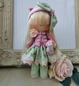 Rag doll handmade Cloth doll Tilda doll Rag Ooak doll LEXI 8 inch tall