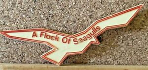 VINTAGE 1980s A FLOCK OF SEAGULLS NEW WAVE ROCK BAND PLASTIC DIE-CUT BADGE EXC!