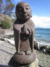 "8"" TALL HOME OR GARDEN VOLCANIC STONE JIZO JAPANESE ZEN MONK BUDDHA BODHISATTVA"