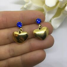 Dangle drop earrings blue stone & gold heart