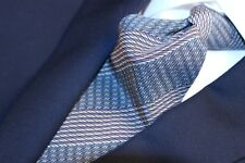 "GIORGIO ARMANI ""Cravatte"" Made in Italy Old Blue with Beige and  Red Stripe Tie"
