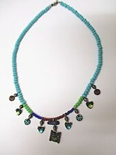 VINTAGE Ayala Bar Charm Necklace 1980's Blue and Green Turquoise Beads
