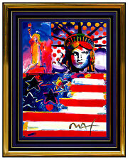 PETER MAX original signed PAINTING GOD BLESS AMERICA Liberty HEAD Usa statue of