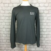 EA7 EMPORIO ARMANI MENS UK XXL GREY LONG SLEEVE POLY PIQUE T-SHIRT TEE TSHIRT