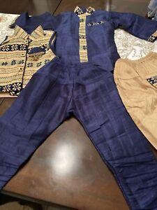 Pakistani/Indian Shalwar Kameez Kids Boys Desi Clothes 4 Pieces. Size 1