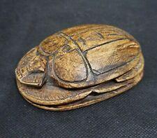 Hieroglyphic Scarab Beetle Sculpture Amulet Egyptian Antique Stone Khepri God