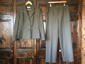 Evan-Picone Brown Striped Career Blazer Jacket 2Pc Fully Lined Suit Sz 14 Womens