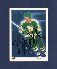 Brian Bellows signed North Stars 1990-91 Upper Deck Checklist hockey card