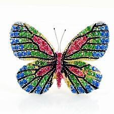 Crystal Gemstone Elegant Rainbow B04 Usa Butterfly Brooch Pin use Swarovski