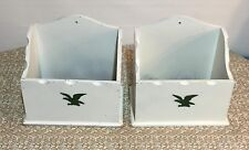 Set 2 Wooden Box Wall Hangers Chic Shabby White Eagle Vintage Americana 9x8.5x5""