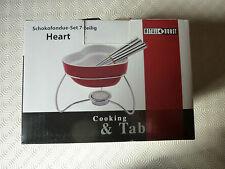 Idea regalo - Servizio da fonduta cioccolato Heart (Cuore rosso) 7 pezzi