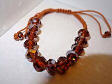 Amber coloured cut glass crystal shambala bracelet - small