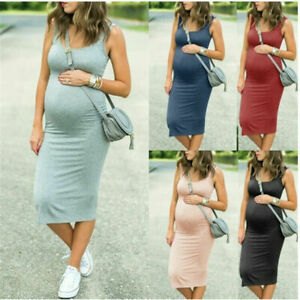 Pregnant Womens Maternity Bodycon Tank Dress Casual Sleeveless Stretch Sundress