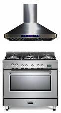 "Verona Prestige VPFSGE365SS 36"" Dual Fuel Range Oven Stainless Steel Hood Set"