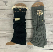 Boot Cuff Womens Set Of 2 Leg Warmers Black Grey With Lace Details
