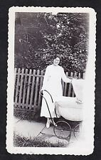 Vintage Antique Photograph Woman Standing By Fence With Wicker Baby Carriage