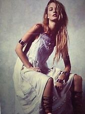 $500 FREE PEOPLE sz S GEMMAS Limited Edition botique White Ivory SILK Lace Dress