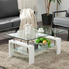 Modern Side Coffee Table Glass Top w/Shelf Living Room Furniture Rectangle White