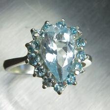 1.40ct Natural light blue Aquamarine &natural zircons Sterling 925 silver ring