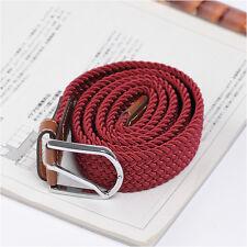 Men's Casual Fashion Belt Faux Leather Stretch Elastic Belts Unique Wine Color