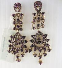 LYDELL NYC Dangling Antiqued Goldtone Amethyst Rhinestone Earrings