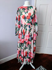 Designer Print Chiffon Long Dress M Floral Retro Boho Party Roses Birds Beyonce