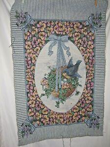 Flowers & Blue Bird Nest Tapestry Wall Hanging Fabric Piece