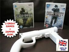 Wii CALL of DUTY MODERN WARFARE + WORLD at WAR Bundle + & Zapper Light Gun