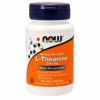 Now Foods L-THEANINE 200mg, 58 caps STRESS RELIEF/HEART HEALTH, OPEN BOTTLE SALE