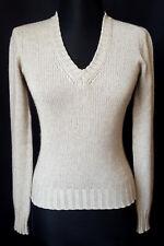LORO PIANA Women Knit Sweater 50% Silk Cashmere Jumper V-Neck Ribbed 38 XS 2 32