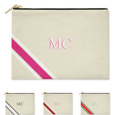 PERSONALISED MONOGRAM CLUTCH BAG WITH INITIALS MONOGRAM COTTON CANVAS POUCH