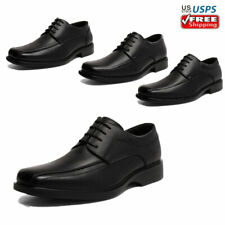 Mens Classic Oxford Shoes Genuine Leather Lace up Dress Shoes Black Casual Shoes