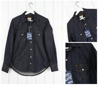 NUEVO WRANGLER Vintage Azul Oscuro Camisa Denim Enjuagar Estándar vaquero L