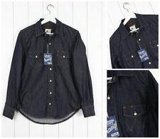 NEUF WRANGLER VINTAGE bleu foncé chemise en jeans Rincé NORME occidental l Large