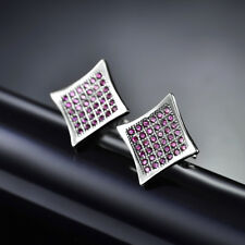 Diamond Shape Plate Studs Pave Garnet HotPink Gems Women Silver Party Earrings