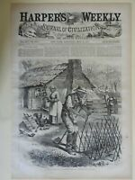 African American Farmers Feeding Chickens Farm Cottage 1870 Harpers Weekly print