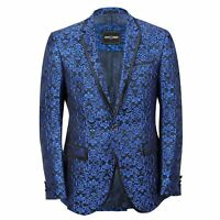 Mens Blue Paisley Print Italian Designer Style Suit Jacket Slim Fitted Blazer
