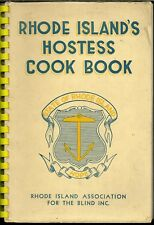 RHODE ISLAND COOKBOOK - HOSTESS COOK BOOK - ASS'N FOR THE BLIND  1940'S OLD ADS
