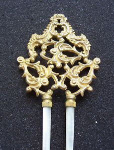 Late Victorian hair comb mother of pearl and pierced brass hair pin